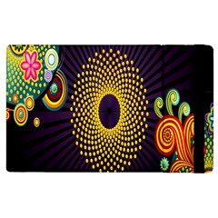Polka Dot Circle Leaf Flower Floral Yellow Purple Red Star Apple Ipad 3/4 Flip Case by Mariart