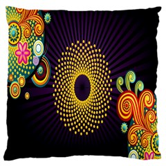 Polka Dot Circle Leaf Flower Floral Yellow Purple Red Star Large Flano Cushion Case (two Sides) by Mariart