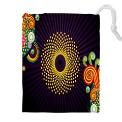 Polka Dot Circle Leaf Flower Floral Yellow Purple Red Star Drawstring Pouches (xxl) by Mariart