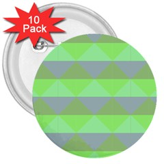 Squares Triangel Green Yellow Blue 3  Buttons (10 Pack)  by Mariart