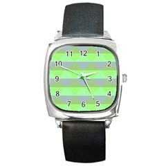 Squares Triangel Green Yellow Blue Square Metal Watch by Mariart