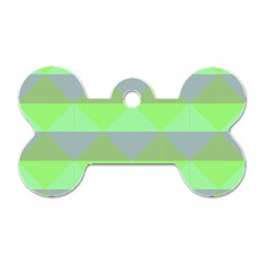 Squares Triangel Green Yellow Blue Dog Tag Bone (two Sides) by Mariart
