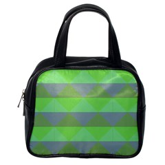 Squares Triangel Green Yellow Blue Classic Handbags (one Side) by Mariart