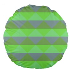 Squares Triangel Green Yellow Blue Large 18  Premium Flano Round Cushions by Mariart