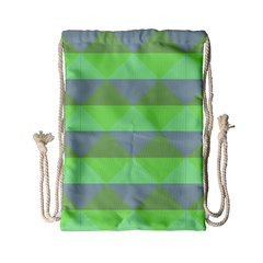 Squares Triangel Green Yellow Blue Drawstring Bag (small) by Mariart
