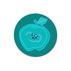 Xray Worms Fruit Apples Blue Magnet 3  (round) by Mariart
