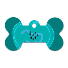 Xray Worms Fruit Apples Blue Dog Tag Bone (two Sides) by Mariart
