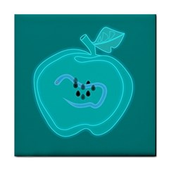 Xray Worms Fruit Apples Blue Face Towel by Mariart