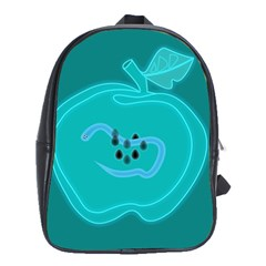 Xray Worms Fruit Apples Blue School Bags(large)  by Mariart