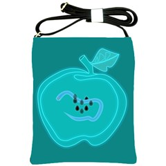 Xray Worms Fruit Apples Blue Shoulder Sling Bags by Mariart