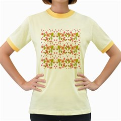 Floral pattern Women s Fitted Ringer T-Shirts by Valentinaart
