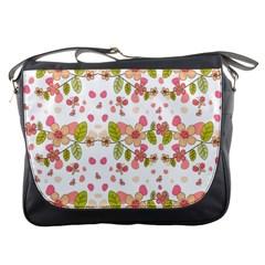 Floral Pattern Messenger Bags by Valentinaart
