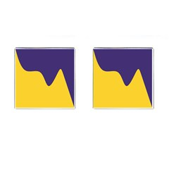 Purple Yellow Wave Cufflinks (square) by Mariart