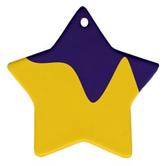 Purple Yellow Wave Star Ornament (two Sides) by Mariart