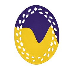 Purple Yellow Wave Ornament (oval Filigree) by Mariart