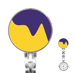 Purple Yellow Wave Stainless Steel Nurses Watch by Mariart