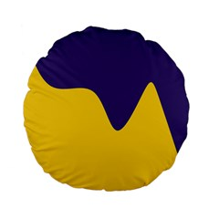 Purple Yellow Wave Standard 15  Premium Flano Round Cushions by Mariart