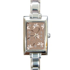 Star Flower Floral Grey Leaf Rectangle Italian Charm Watch by Mariart