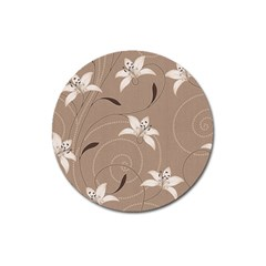 Star Flower Floral Grey Leaf Magnet 3  (round) by Mariart