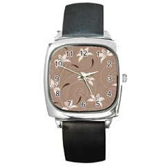 Star Flower Floral Grey Leaf Square Metal Watch by Mariart