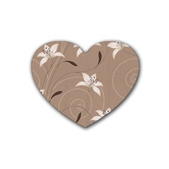 Star Flower Floral Grey Leaf Rubber Coaster (heart)  by Mariart