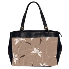 Star Flower Floral Grey Leaf Office Handbags (2 Sides)  by Mariart