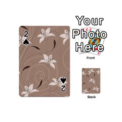 Star Flower Floral Grey Leaf Playing Cards 54 (mini)  by Mariart
