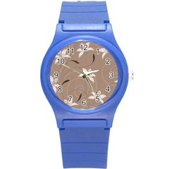 Star Flower Floral Grey Leaf Round Plastic Sport Watch (s) by Mariart