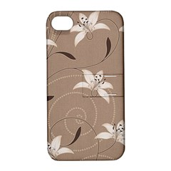 Star Flower Floral Grey Leaf Apple Iphone 4/4s Hardshell Case With Stand by Mariart