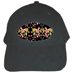 Floral Pattern Black Cap by Valentinaart