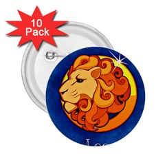 Zodiac Leo 2 25  Buttons (10 Pack)  by Mariart