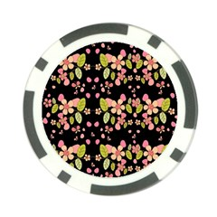 Floral Pattern Poker Chip Card Guard by Valentinaart
