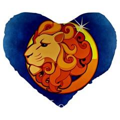 Zodiac Leo Large 19  Premium Heart Shape Cushions by Mariart