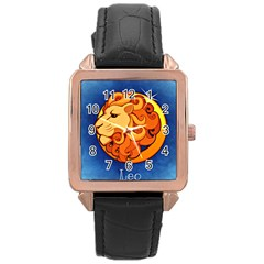 Zodiac Leo Rose Gold Leather Watch  by Mariart
