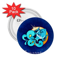 Zodiac Aquarius 2 25  Buttons (10 Pack)  by Mariart