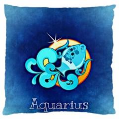 Zodiac Aquarius Standard Flano Cushion Case (one Side) by Mariart