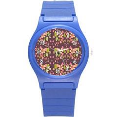 Floral Pattern Round Plastic Sport Watch (s) by Valentinaart