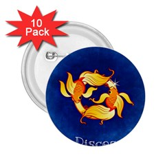 Zodiac Pisces 2 25  Buttons (10 Pack)  by Mariart