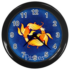 Zodiac Pisces Wall Clocks (black) by Mariart