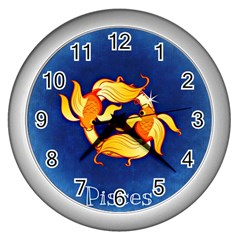Zodiac Pisces Wall Clocks (silver)  by Mariart
