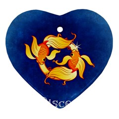 Zodiac Pisces Heart Ornament (two Sides) by Mariart