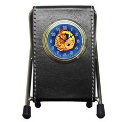 Zodiac Capricorn Pen Holder Desk Clocks by Mariart