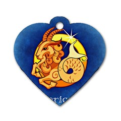 Zodiac Capricorn Dog Tag Heart (two Sides) by Mariart