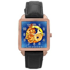 Zodiac Capricorn Rose Gold Leather Watch  by Mariart