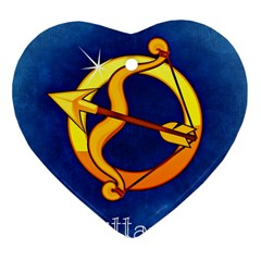 Zodiac Sagittarius Heart Ornament (two Sides) by Mariart
