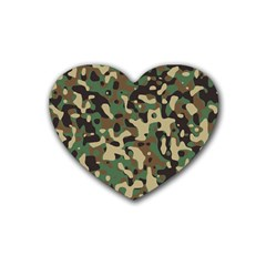 Army Camouflage Heart Coaster (4 Pack)  by Mariart