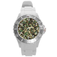 Army Camouflage Round Plastic Sport Watch (l) by Mariart