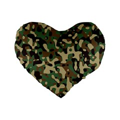 Army Camouflage Standard 16  Premium Flano Heart Shape Cushions by Mariart