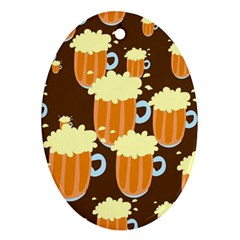 A Fun Cartoon Frothy Beer Tiling Pattern Ornament (oval) by Nexatart