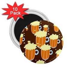 A Fun Cartoon Frothy Beer Tiling Pattern 2 25  Magnets (10 Pack)